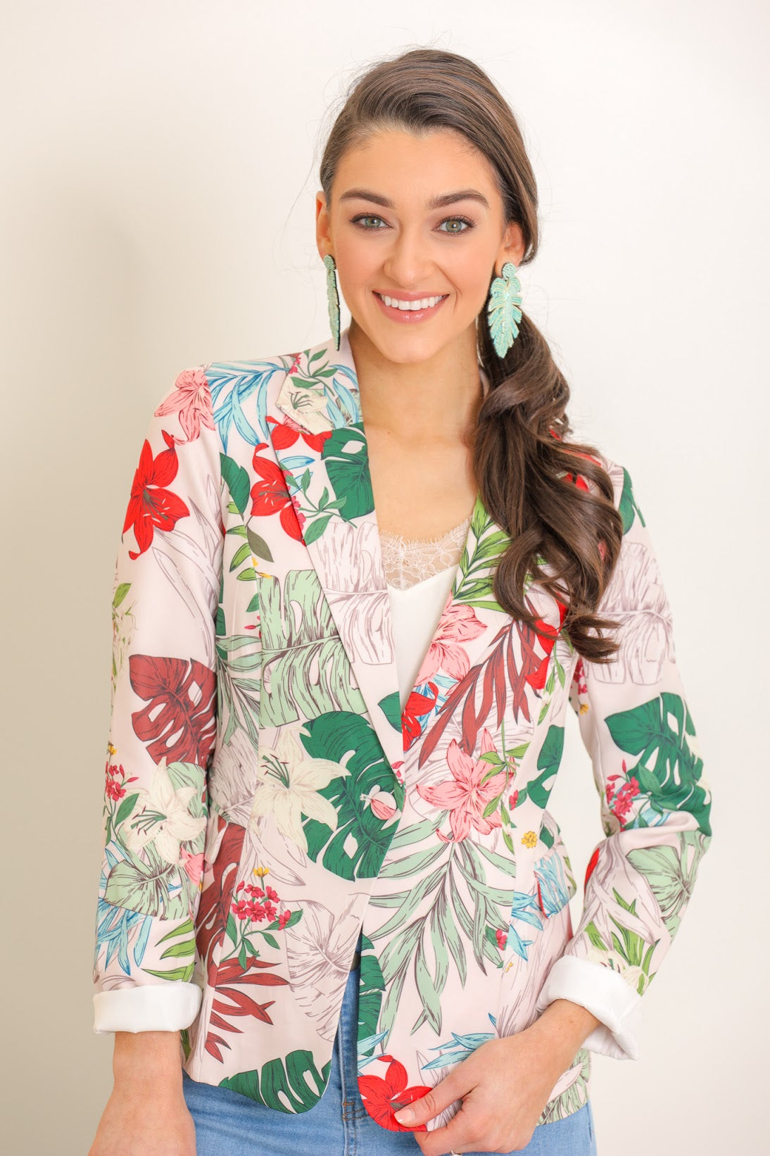 Vacation Living Tropical Floral Blazer
