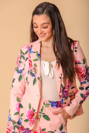Dahlia Single Button Floral Print Blazer