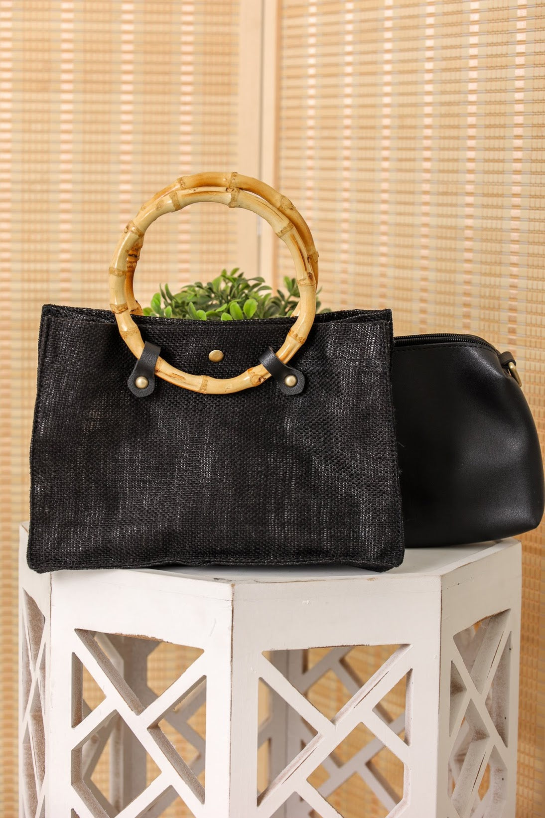 Everything for You Bamboo Handle Linen Bag Set - Black