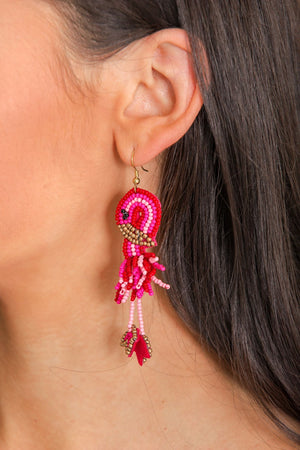 Water's Fine Beaded Flamingo Earrings