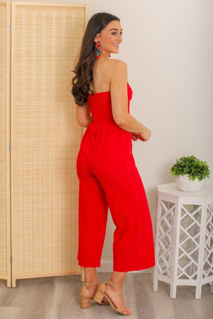 Lady in Red Sleeveless Jumpsuit