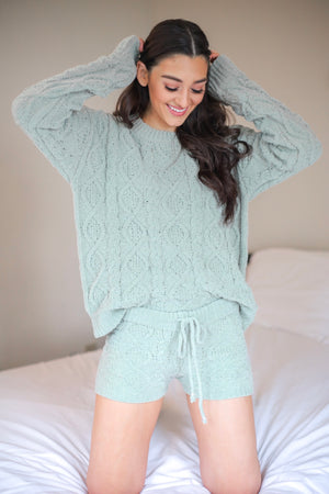 Hold Me Tighter Cable Knit Shorts - Sage - Shorts - Wight Elephant Boutique