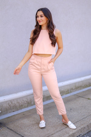 Wink of Pink Cut-Out Jumpsuit - Jumpsuits - Wight Elephant Boutique