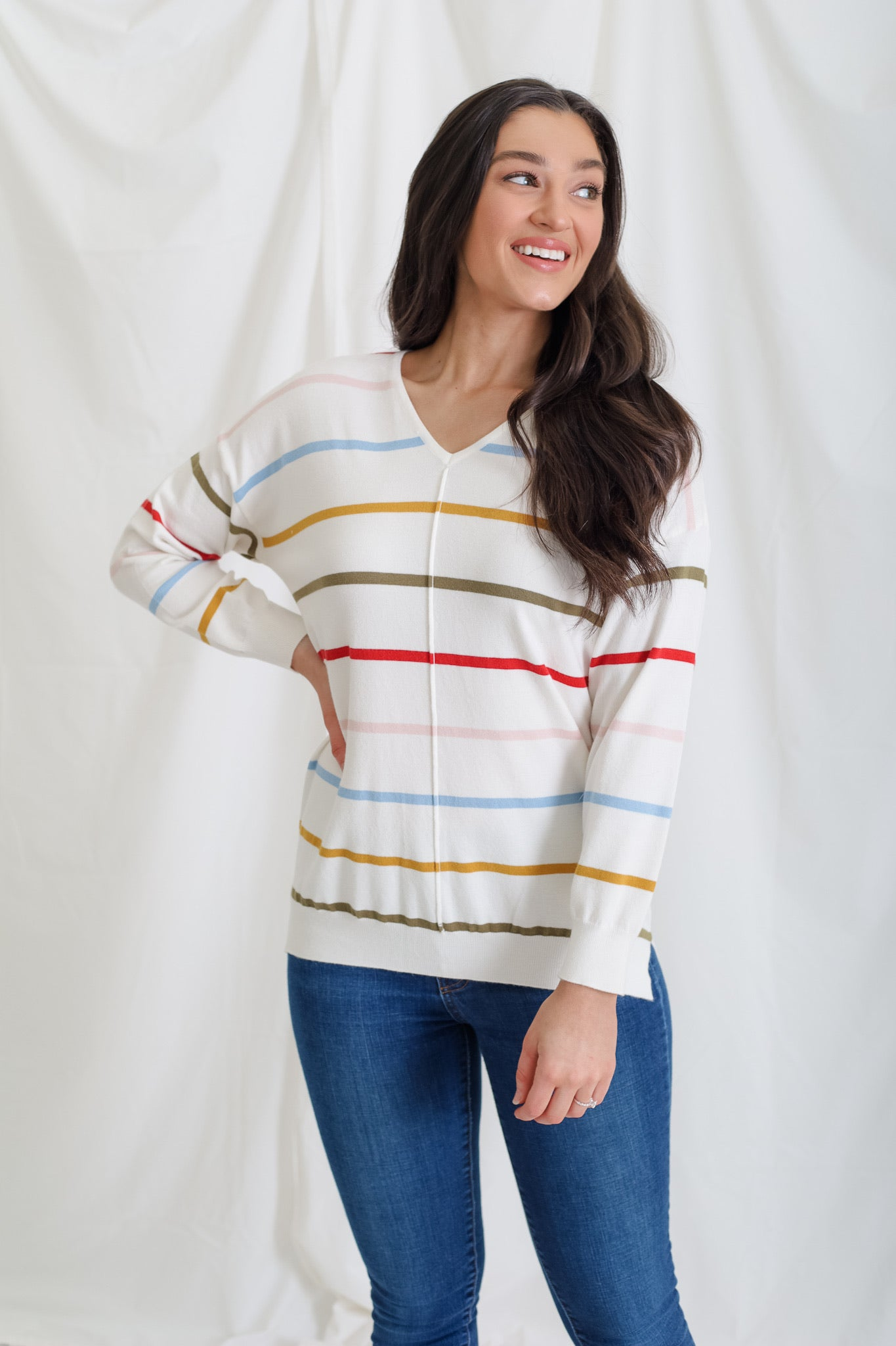 Feeling Lucky Rainbow Stripe Sweater