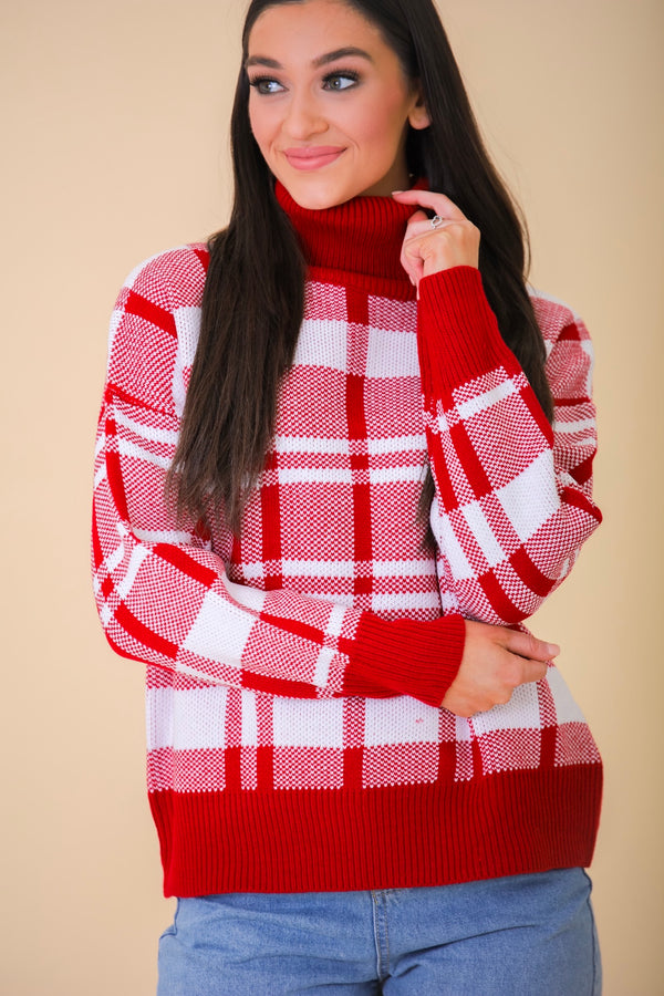 Season's Greetings Plaid Turtleneck Sweater - Tops - Wight Elephant Boutique