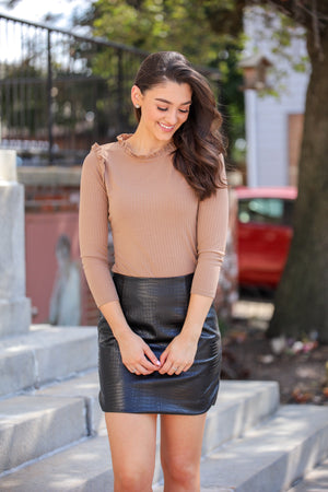 Ribbed Ruffle Mock Neck - Chestnut - Tops - Wight Elephant Boutique