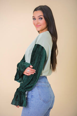 Gift Yourself Top With Textured Velvet Sleeves - Green - Tops - Wight Elephant Boutique