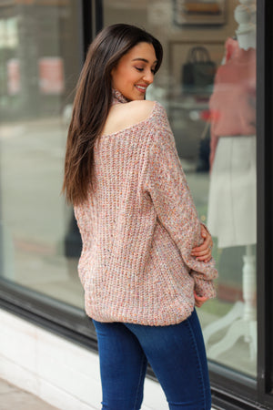 Little Surprises One Shoulder Mock Neck Sweater - Tops - Wight Elephant Boutique
