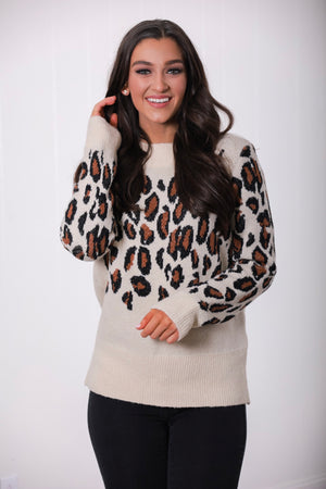 Looking Fierce Leopard Print Sweater