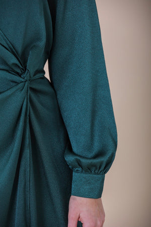 Encased in Emerald Knotted Satin Midi Dress