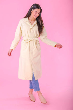 Adrianna Yellow Trench Coat - Tops - Wight Elephant Boutique