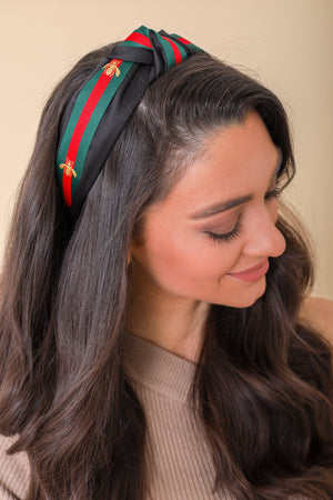 Busy Bee Top Knot Headband - Black - Hair Accessories - Wight Elephant Boutique