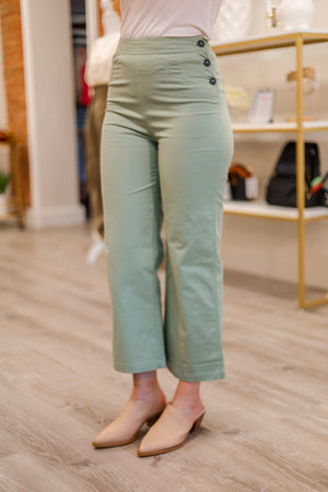 Pinch of Sage Linen Cropped Pants - Pants - Wight Elephant Boutique