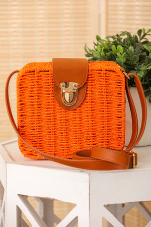 Face in the Sun Boxy Rattan Crossbody - Orange
