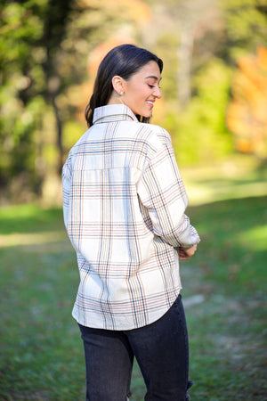 Night Under the Stars Boyfriend Flannel Shirt - Tops - Wight Elephant Boutique