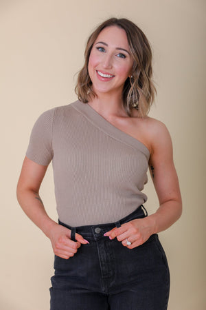Uncover Your Bliss One Shoulder Ribbed Knit Top - Mocha - Tops - Wight Elephant Boutique