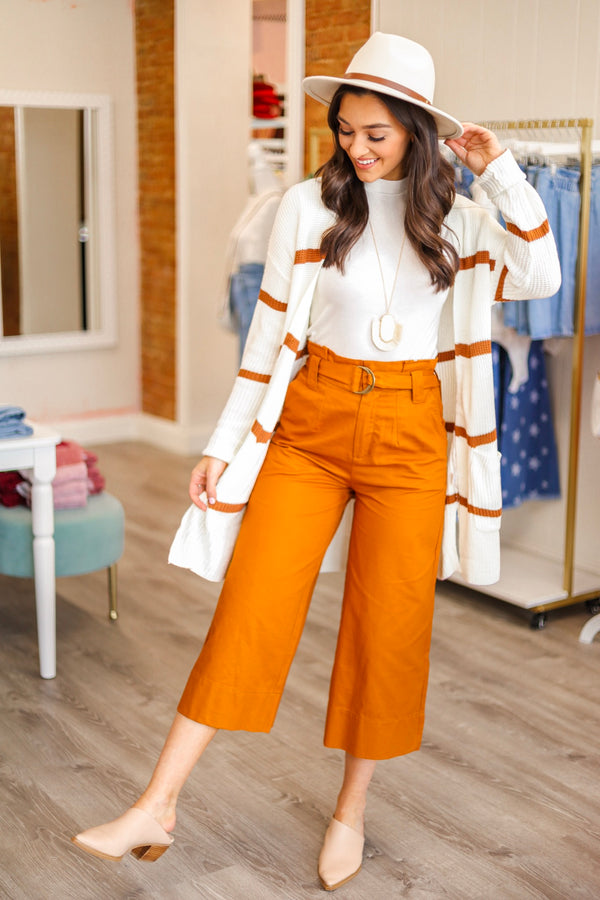 Leaves Change Belted Paperbag Crop Pant