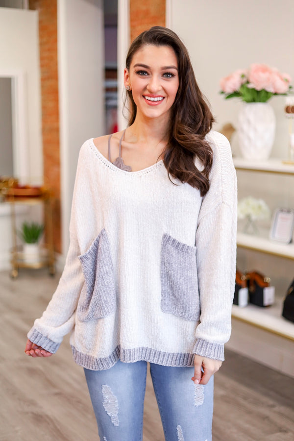 Pocket of Love Chenille Pullover Sweater