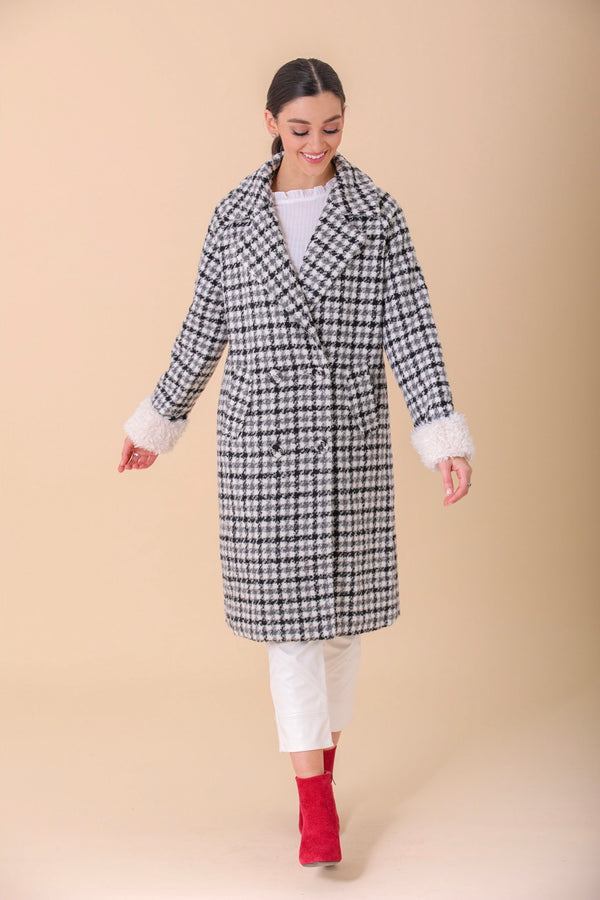 Anastasia Woven Coat With Sherpa Cuffs