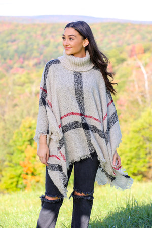 Warm Embrace Plaid Knit Poncho