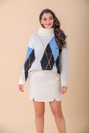 Full of Imagination Argyle Woven Sweater