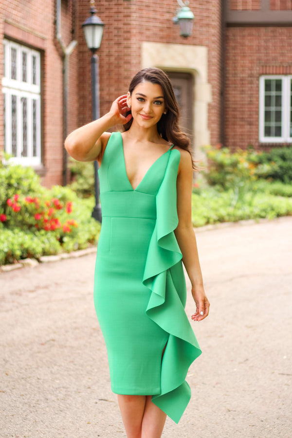 Waves of Green Midi Dress