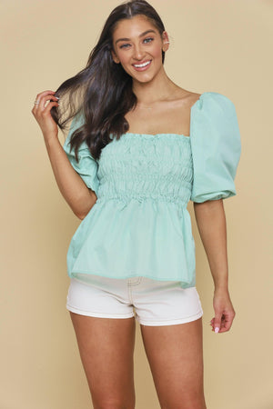 A Proper Puff Sleeve Peplum Top - Mint