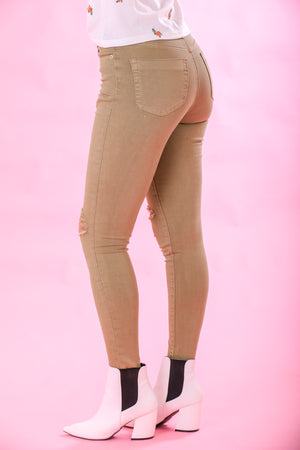 Rip and Snip Distressed Khaki Jeans - Pants - Wight Elephant Boutique