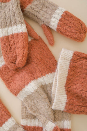 Chase Away the Cold Mohair Striped Mitten - Gloves - Wight Elephant Boutique