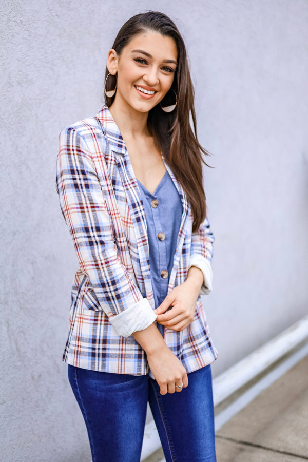 Professionally Pretty Plaid Blazer