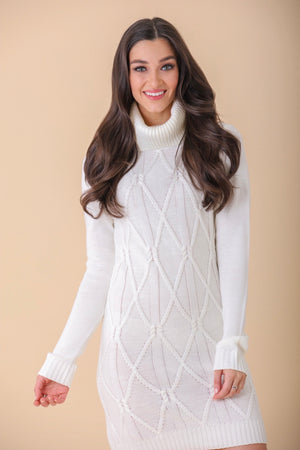 Warm It Up Cowl Neck Sweater Dress -  Off-White - Dresses - Wight Elephant Boutique