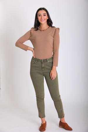 Made for You Cropped Jeans - Olive