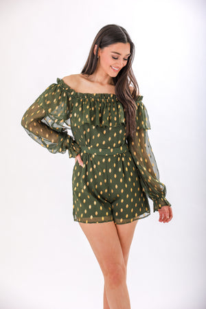 Light Up the Nights Chiffon Polka Dot Romper - Rompers - Wight Elephant Boutique