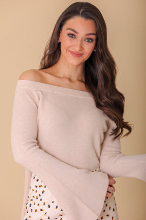 Pure Imagination Off-Shoulder Bell Sleeve Sweater
