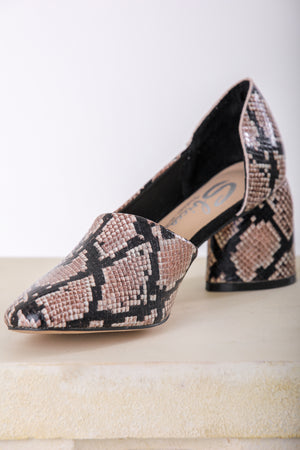Sbicca Volin Asymmetrical Snakeskin Heeled Pump - Shoes - Wight Elephant Boutique