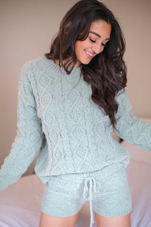 Lush and Lovely Cable Knit Fleece Sweater - Sage
