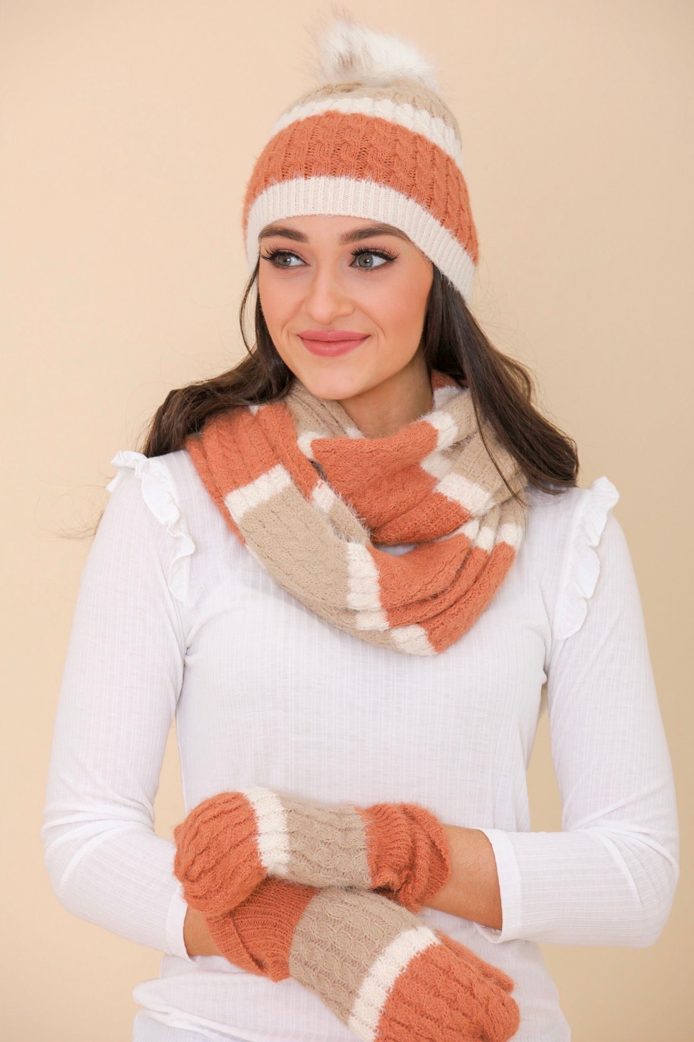 Chase Away the Cold Mohair Striped Infinity Scarf - Scarf - Wight Elephant Boutique