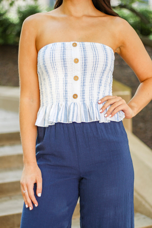 Flirty Striped Tube Top - Tops - Wight Elephant Boutique