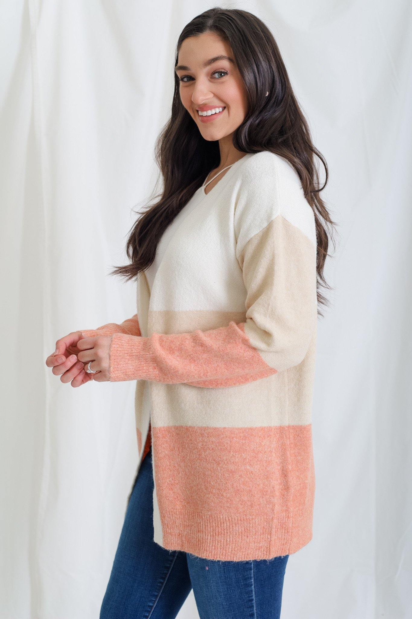 A Soft Block Cardigan - Coral