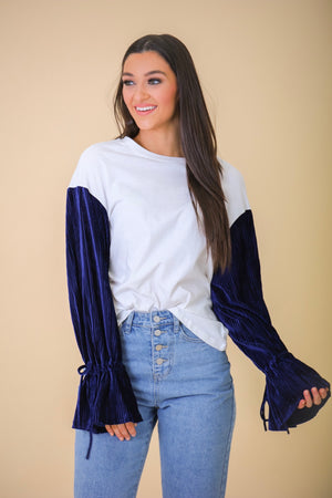 Gift Yourself Velvet Sleeved Top - Blue - Tops - Wight Elephant Boutique