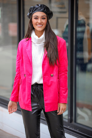 Lipstick Kiss Hot Pink Blazer - Tops - Wight Elephant Boutique