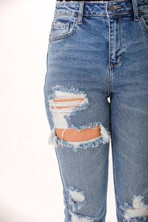 Walk It Off Distressed Straight Jean