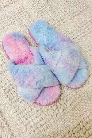 Easy Morning Faux Fur Slippers — Purple/Blue