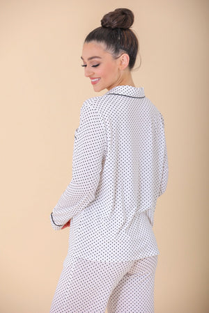 Lots of Dots Printed Pajama Top - Tops - Wight Elephant Boutique