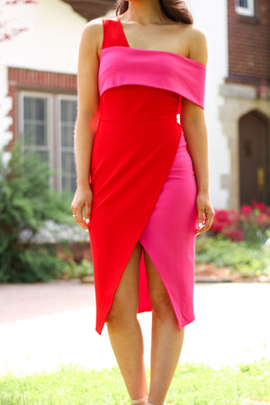 Mia Red and Pink Midi Dress - Dresses - Wight Elephant Boutique