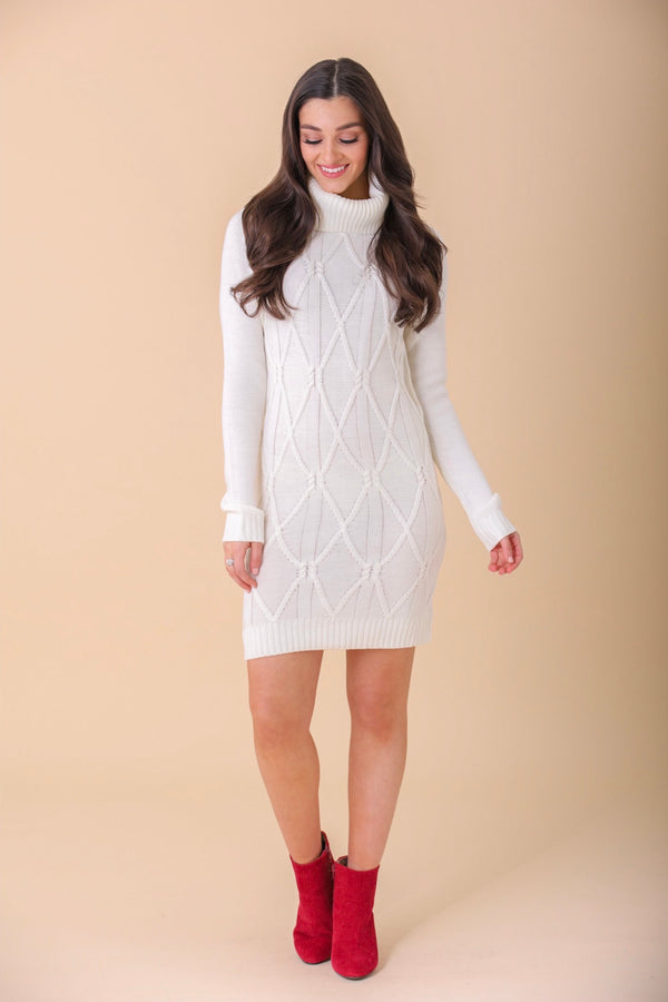 Warm It Up Cowl Neck Sweater Dress -  Off-White
