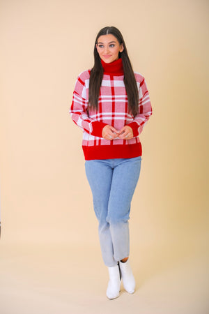 Season's Greetings Plaid Turtleneck Sweater