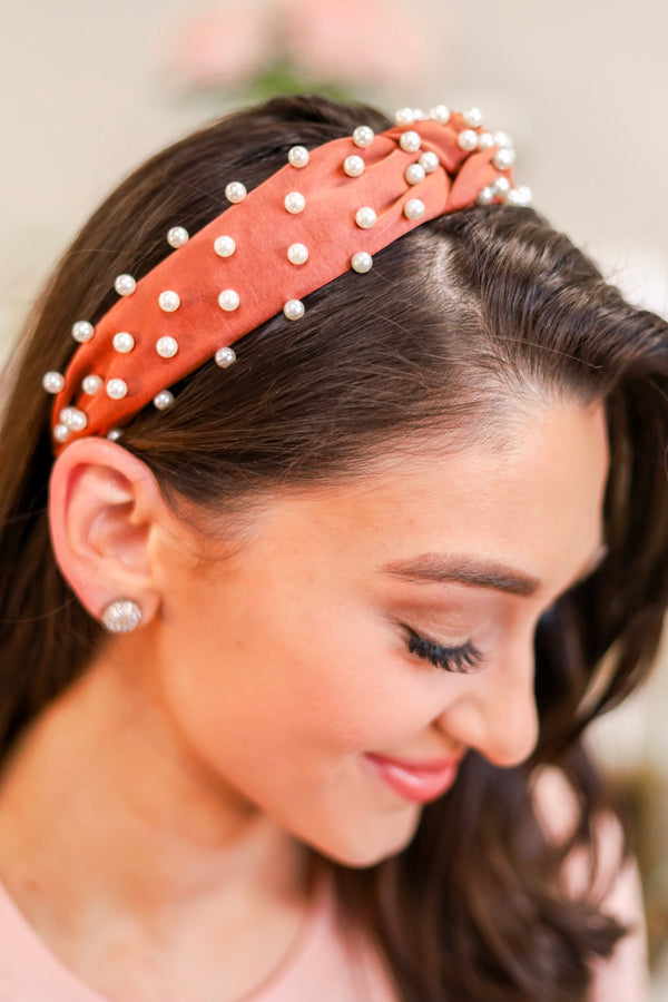 Crown Jewels Pearl Top Knot Headband- Rust - Hair Accessories - Wight Elephant Boutique