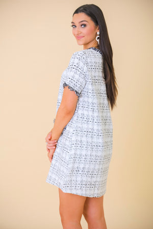 Pocket of Joy Tweed Shift Dress - White