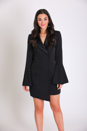 Josephine Tuxedo Dress - Black